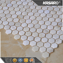 White hexagon mosaic mother of pearl sheet tile