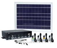 mini solar home lighting system with 4 led lights and mobile phone charger 8W solar panel with USB