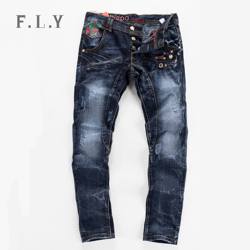men jeans fashion 2015 casual brand print biker cool true denim pants plus size calca pantalones vaqueros hombre mens MYA0068