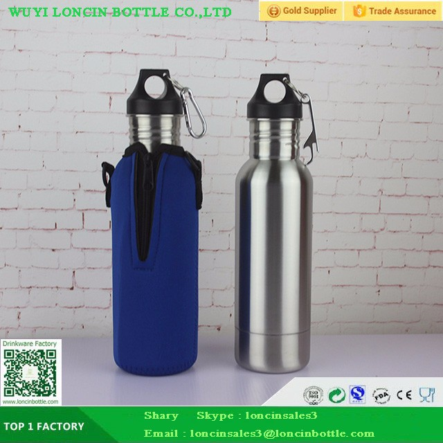 Colorful Powder Coated Beer Bottle Holder With Opener,Stainless Steel Matt Color Print Beer Bottle To Keep Beer Cold