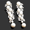 pearl drop earrings rhinestones unique design clear white crystals wedding Jewelry dangle earrings