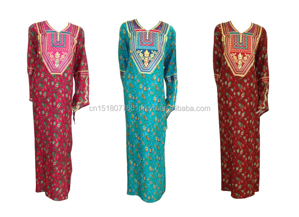 New Design Saudi Arabian Islamic Abaya Printed Women Thobes with Embroidery