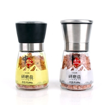Wholesale customized 6oz clear glass bottle with clear durable grinder top for kitchen spice use