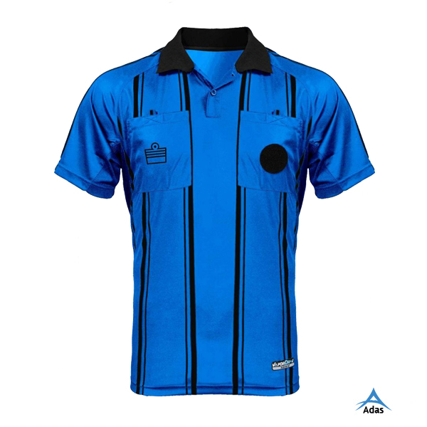 Striped soccer referee jersey, blue referee jersey