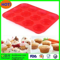 Silicone Cake Mold Muffin Cup Silicone Bakeware 12 Cup Baking Pan Cupcake Moulds 100% Food Grade Kitchen