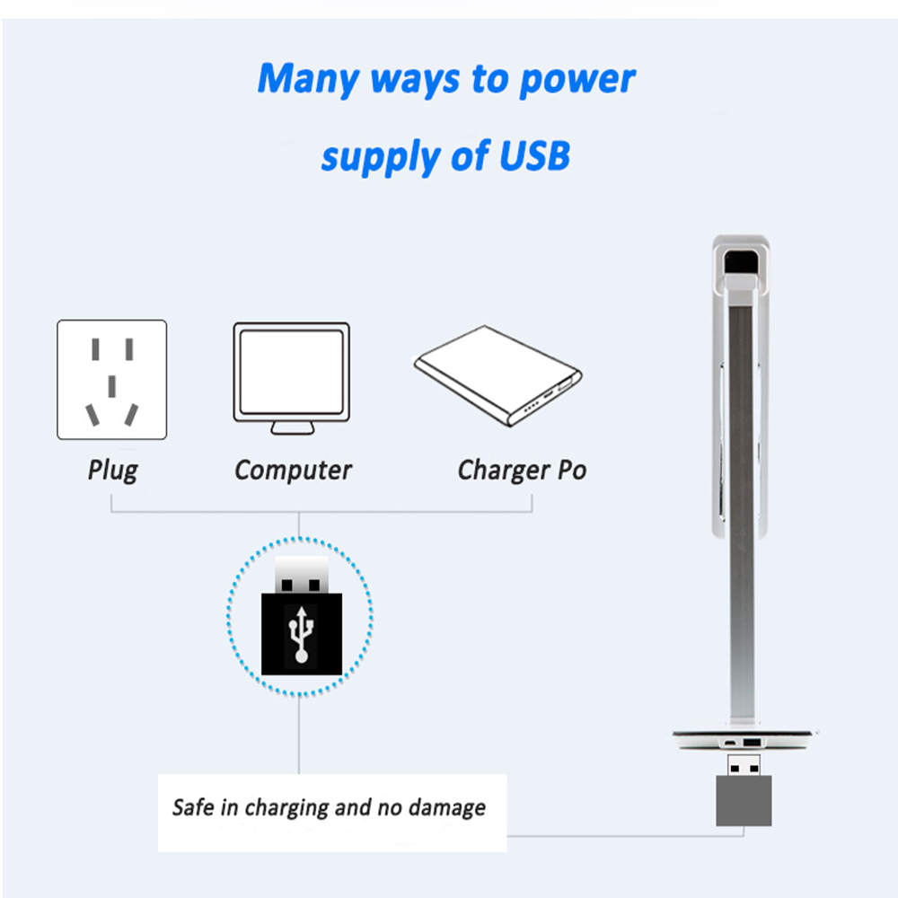 Dimmable led reading light Touch-Sensitive Control Brightness led desk light with USB port