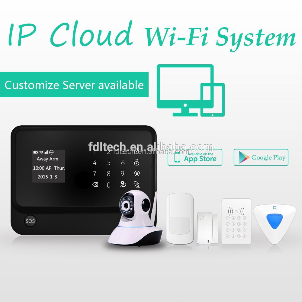 2015 New Technology WIFI&GSM alarm system wireless with Internet iCloud server