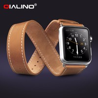 QIALINO Genuine Leather Loop With Lock Strap Replacement Watch Band For Apple Watch 42mm/38mm