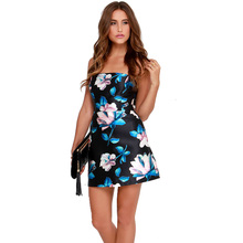 2016 Guangzhou factory price flower printing boobtube bodycon mini dress clothes for women