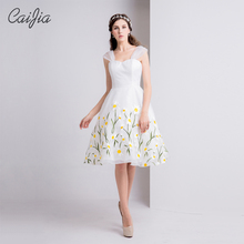Caijia2017 White Fresh And Natural Straple Short Dress Elegant Flower Pattern Ball Gown Cute Cocktail Dress