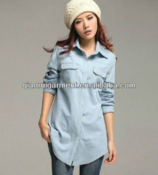 women/ladies's latest trendy 100%cotton washed denim casual shirts with pointed collar and two pockets