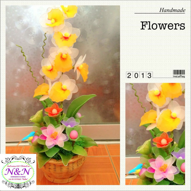 Decorative Handmade Flowers in basket,