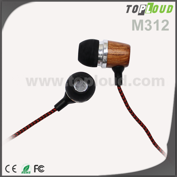 Wholesale Noise cancelling Light wood earphone wooden earbuds Earphones for Mobile phone Smart Phone
