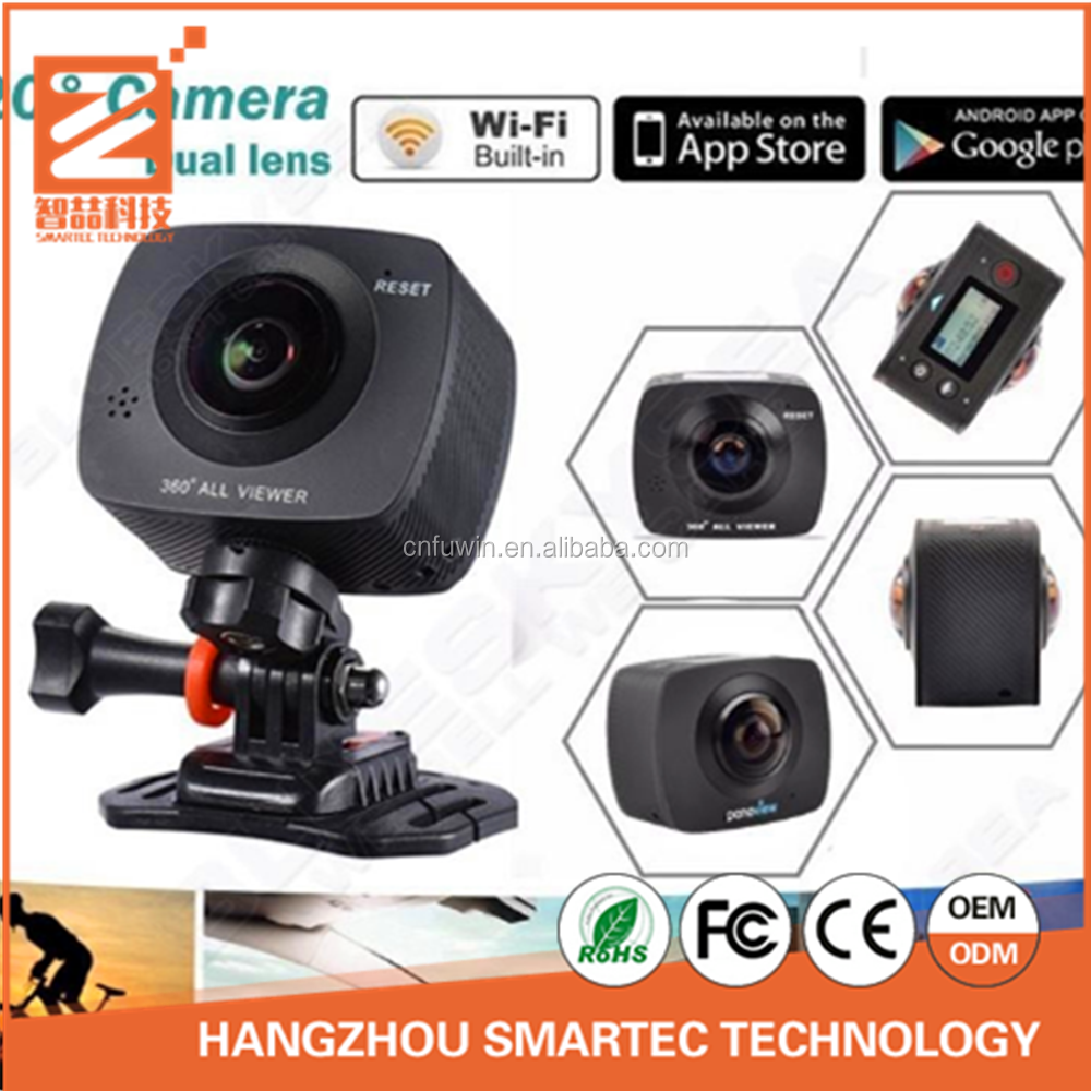 360 Degree Panoramic VR Camera with Dual Spherical Lens [Front & Back], HD Wi-Fi Digital Photography Video Capture Action Camera