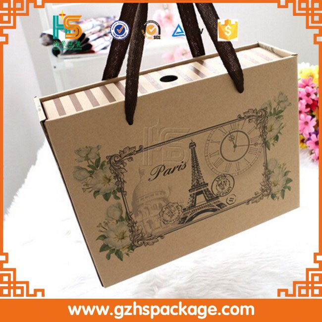 Custom Cardboard Paper Gift Box With Handle, Cardboard Carrying Box With Handle