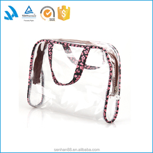 Pink lace clear PVC tote makeup toiletry bag dressing bags