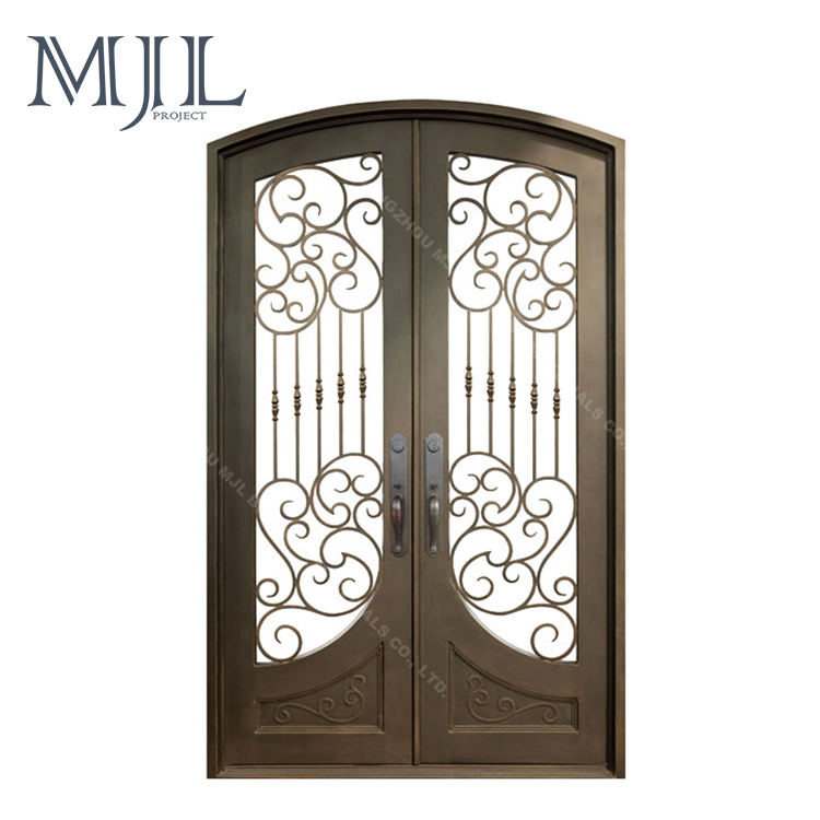 Wholesale Cheap Price Powder Coated Eyebrow Top Wrought Iron Double Entry Door/ Simple Iron Grill Window Door Designs