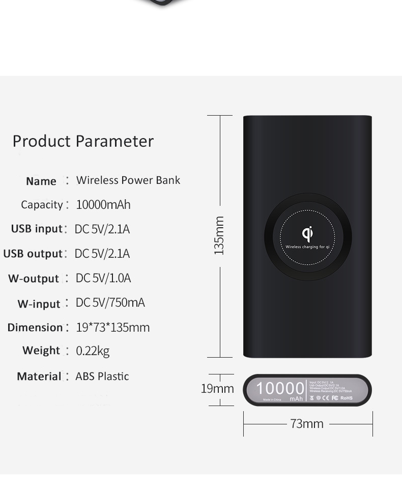 Portable slim usb-<strong>c</strong> fast charger Qi wireless charging power bank 10000mAh for <strong>mobile</strong> phone