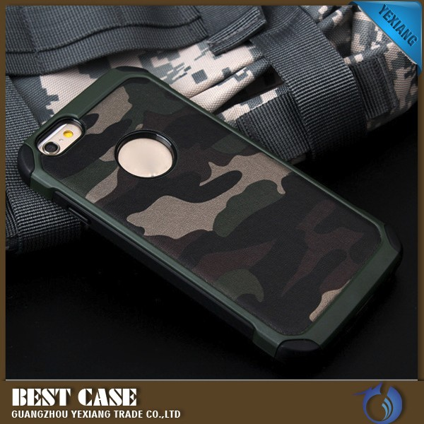 perfect fit cell phone cover camo shockproof case for iphone 6 dual layer hybrid case