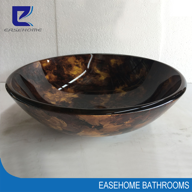 unique bathroom round temepered glass hand wash basin vessel sink