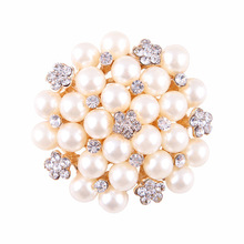 rose golden pearl rhinestone flower brooch for wedding dress and invitation card