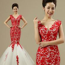 Sexy deep V France water soluble lace princess bride tail red bag hip wedding dresses