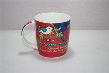 Red ceramic birds cup 12 oz with birthday wishes