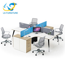 2018 Latest Dersign Wood Office Desk Low Partition for 4 Person Use