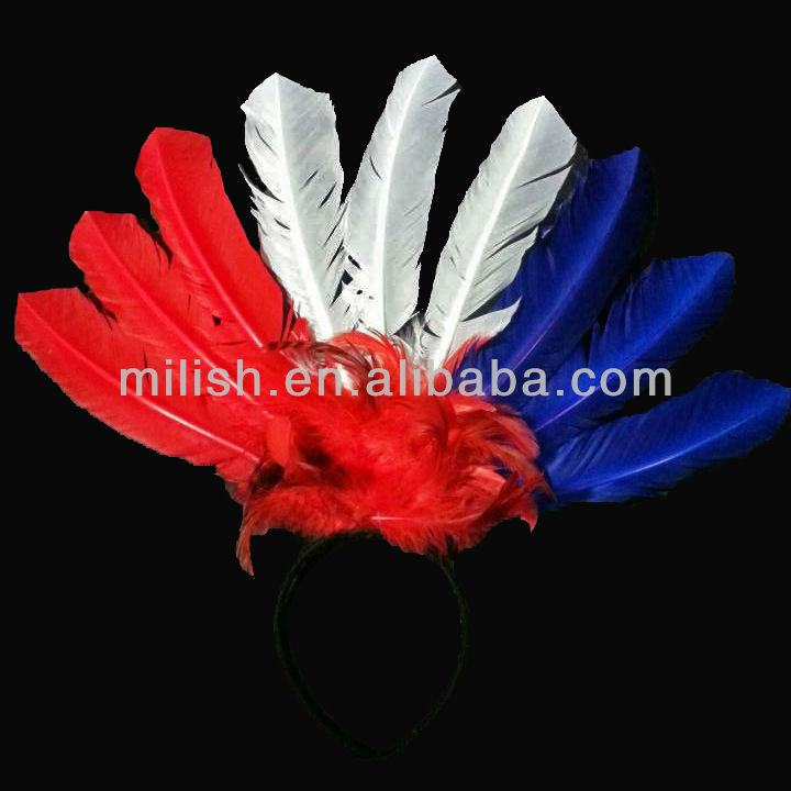 party carnival France French flag color feather headband decoration/feather headdress for football fans MFC-031