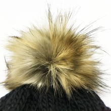 Hot Sale Fashion Raccoon Beanie Fur Pon Pon Faux Fur Pom Poms Balls For Hats