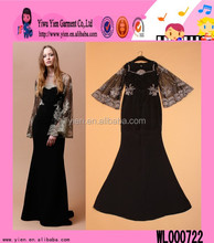 2015 New Design Black Formal Evening Dress Long Sleeve Floor Length Europe Evening Gown Dress For Ladies