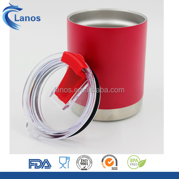 New hot sale double wall stainless steel red color 10oz tumbler with replace lid