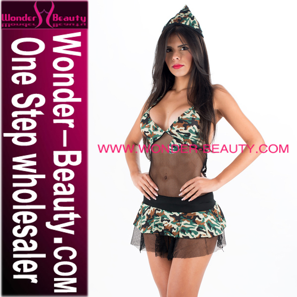 Fashion Mesh Woman Military Lingerie with Hat
