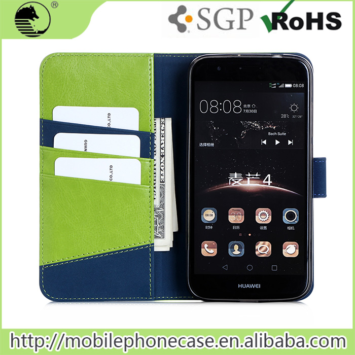 New Design Wallet Design PU+TPU Leather Flip Phone Case For Huawei G8