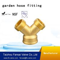 "High quality lead free c46500 copper cUPC brass garden hose 3/4"" female * male *male Y tee fittings"