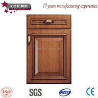 solid wood colored wood grain pvc kitchen cabinet door