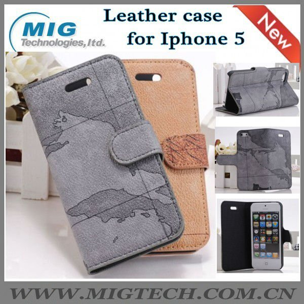 World map style leather wallet, credit card slot wallet leather case for iphone 5 5S