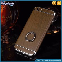 Customized design wood pattern case with ring stand plastic mobile phone cover for iphone 6s