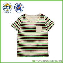 High quality good sales cotton mixed striped men's t shirt