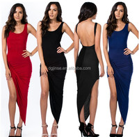 cotton polyester solid color multi color lady backless evening dress