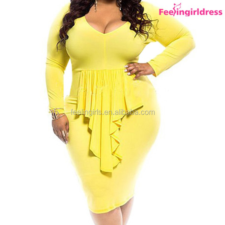 New Yellow V-neck Fashion Bodycon Dress Fat Size Women Party Dress