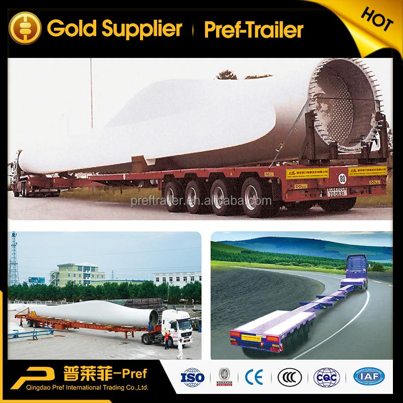 Length adjustable wind blade transport extendable semi trailer with steerable axle