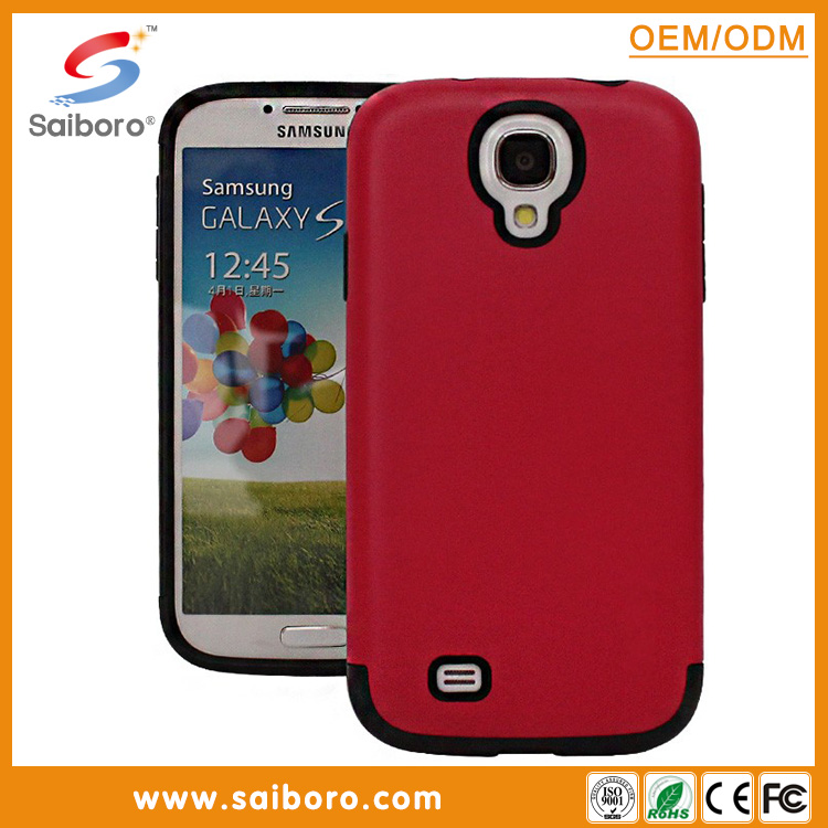 New design 2 in 1 cell phone cover hybrid armor soft tpu hard back case for Samsung S4