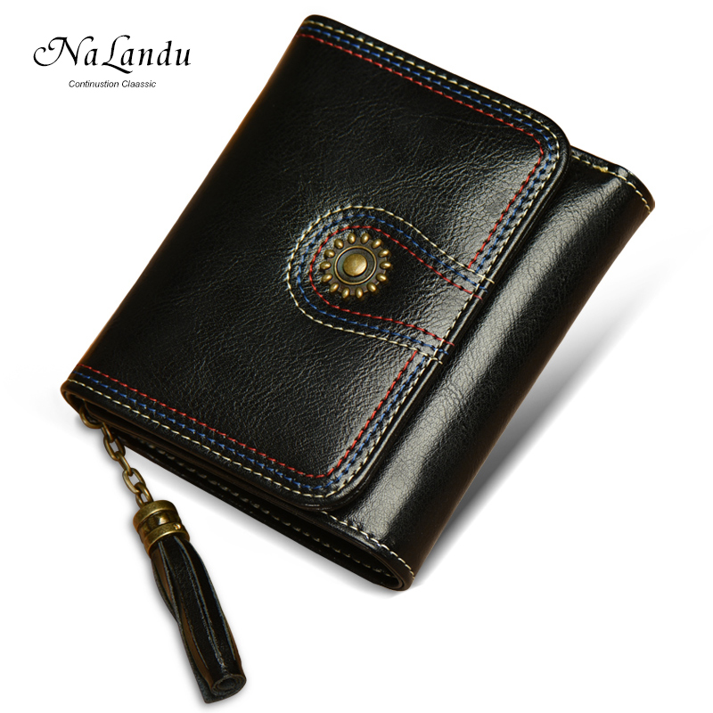Vintage and High Quality Lady Black Leather Customized Woman Wallet For Girls