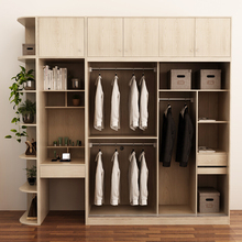 Good Quality Portable E0 Double Color Solid Wood Wardrobe Design Furniture Bedroom