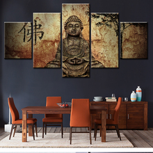 5 Piece Canvas Art Modern Printed Buddha Painting Picture Buddha Paintings Wall Canvas For Living Room Picture