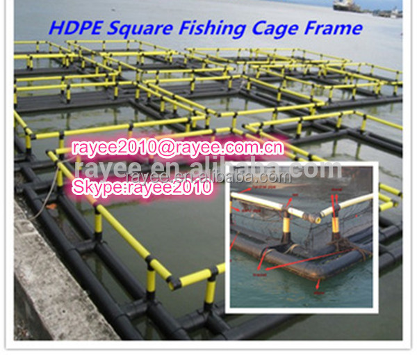Aquaculture fish cage system HDPE Floating fish cage with good quality, HDPE flotante jaula para peces