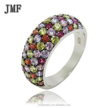 Foshan gemstone jewellery silver cz ring two stone ring designs