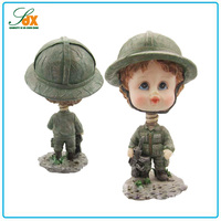 Alibaba china hot sale custom resin cute kid soldier bobble head dolls