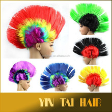 High quality punk rainbow wigs synthetic laser helmet hair wigs for football fun Mohawk Style Wig